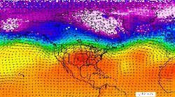 Note the unusual bulge in the jet stream over the center of the country. (Credit: NASA/Goddard Earth Science Data and Information Center)