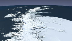 "The Landsat Image Mosaic of Antarctica (LIMA) provides this ""flyover"" view of the Larsen Ice Shelf's long reach out into the Weddell Sea."