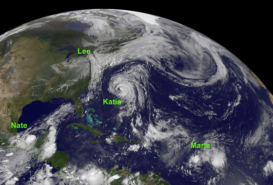 NOAA's GOES-13 satellite took a stunning image of 4 tropical systems in the Atlantic today, Sept. 8, 2011. Hurricane Katia in the western Atlantic between Bermuda and the U.S. East coast; Tropical Storm Lee's remnants affecting the northeastern U.S.; Tropical Storm Maria in the central Atlantic; and newborn Tropical Storm Nate in the Bay of Campeche, Gulf of Mexico. (Credit: NASA/NOAA GOES Project)
