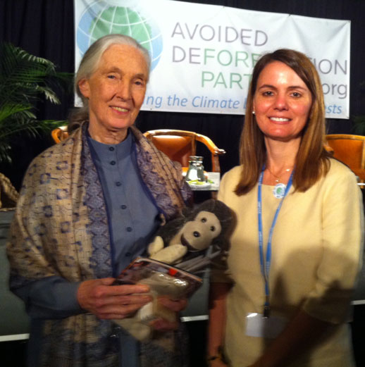 Erika with chimpanzee expert Jane Goodall.