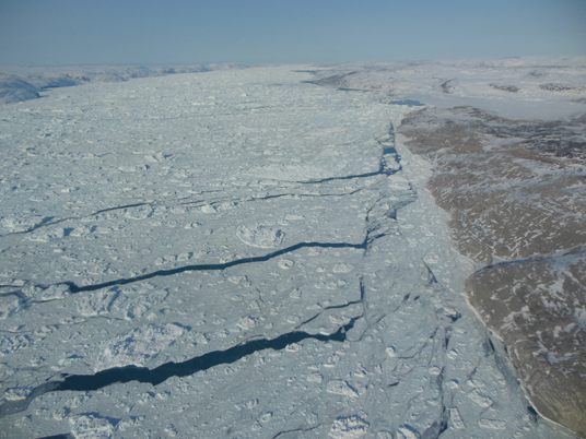 A view of sea ice with open leads of water. Credit: Christy Hansen