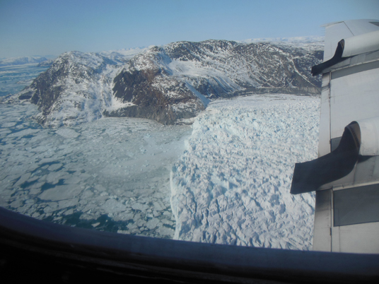 An image of a glacier's calving front, where it flows and loses ice to the sea. Credit: Christy Hansen