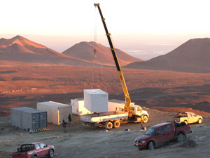 After site work, the instrument, housed in a converted shipping container, was put in place in Chile following a  months-long trek by truck and ship. Photo courtesy of Rich Cageao, NASA Langley Research Center.