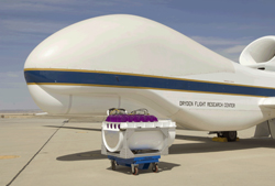 Photo of the new purple CPL with the Global Hawk. Credit: NASA