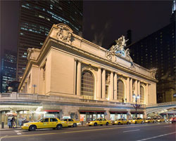 Grand Central Station provides access to the rail system that helps to make New York City one of the greenest cities in the U.S. The city is trying to make the taxis greener, too.