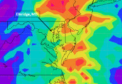 The TMPA rainfall map for Md., Del., and parts of N.C., Va., W.V., Pa., N.J., and N.Y. shows Irene's rainfall along the U.S. East Coast. A ground measurement in Elkridge, Md. south of Baltimore received about 5.25 in. (133 mm) of rain. The TMPA showed Elkridge received between 120-140mm of rain – the same range as measured on the ground. Nearby BWI airport recorded 4.69 in. (119mm) so TMPA provided an accurate estimate of Irene's rainfall in Md. Credit: NASA, Dr. James Acker