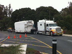 The NPOESS Preparatory Project (NPP) climate satellite arrives at Vandenberg Air Force Base in preparation for its October launch. Credit: NASA/Jerry Nagy