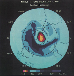 At an August 1985 meeting in Prague, Pawan Bhartia presented this satellite-based image that revealed for the first time the size and magnitude of the ozone hole. Credit: NASA