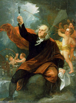 Unlike the account in this painting of Benjamin Franklin, cherubs were not seen to accompany Dave North during his experiment to get electricity from a kite.