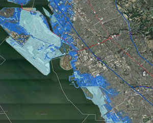 Extent of coastal flooding and erosion under one scenario of sea-level rise in the San Leandro area of northern California. Produced by the Pacific Institute, California Energy Commission, California Department of Transportation, and the Ocean Protection Council.