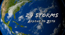 27 named storms formed in the 2005 Atlantic hurricane season, which broke many records including the most hurricanes, the most category 5 hurricanes, and the most intense hurricane ever recorded in the Atlantic.