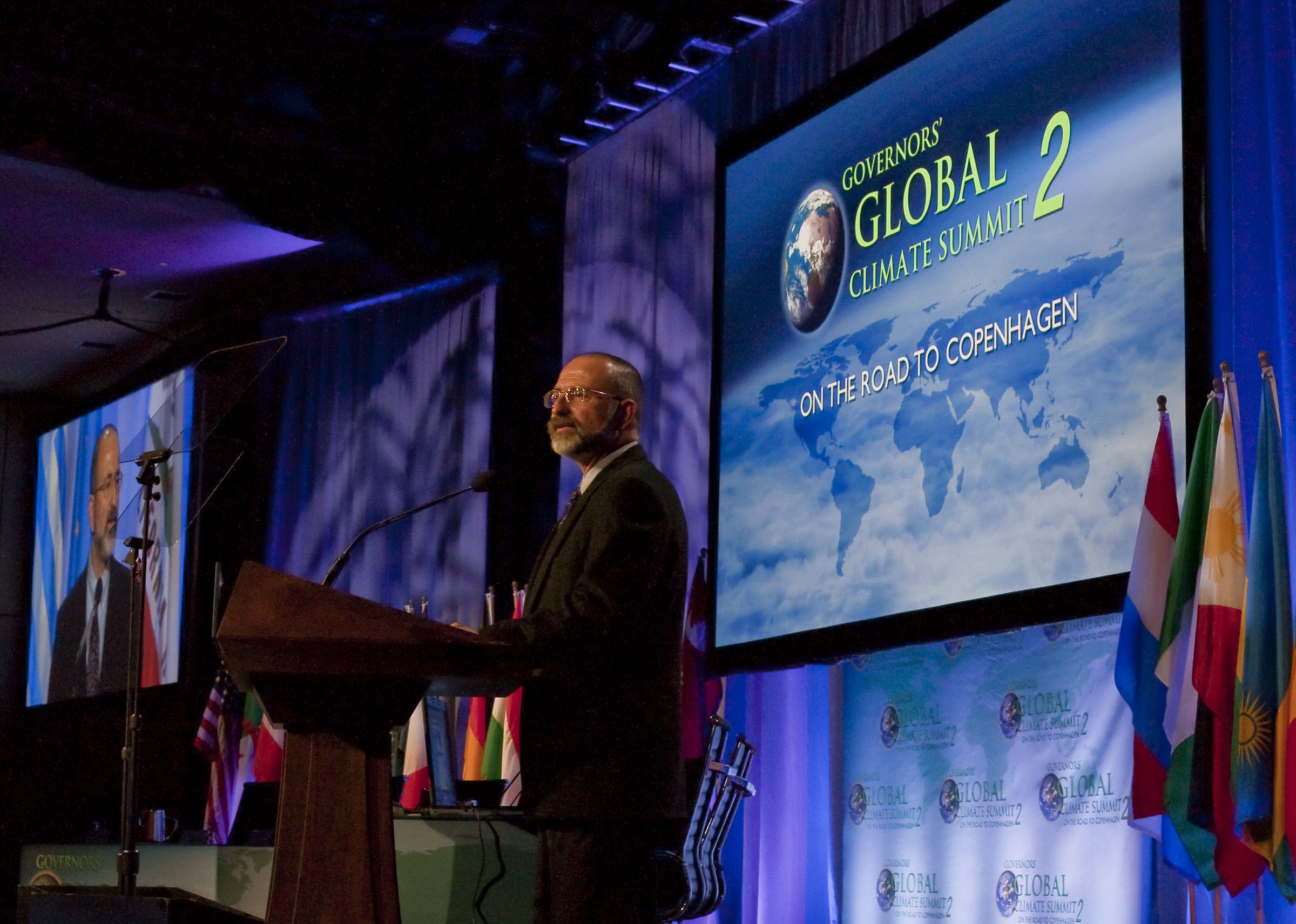An assortment of luminaries attended the Governors' Global Climate Summit earlier this month, ranging from Arnold Schwarzenegger to Tony Blair to Harrison Ford. NASA Jet Propulsion Laboratory's very own Kevin Hussey (pictured) was there to preview our interactive tool.