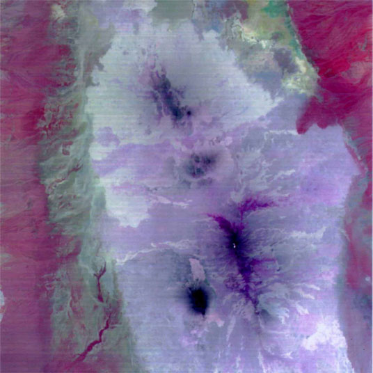Credit: ASTER Instrument Team, MITI, ERSDAC, JAROS, NASA JPL. Image date: 3 March, 2000. Size of image: 60km x 60km approx.