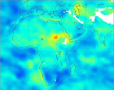 Surface relative humidity anomalies in percent, during July 2011 compared to the average surface relative humidity over the previous eight years, as measured by the Atmospheric Infrared Sounder (AIRS) instrument on NASA's Aqua spacecraft. The driest areas are shown in oranges and reds. Image credit: NASA/JPL-Caltech