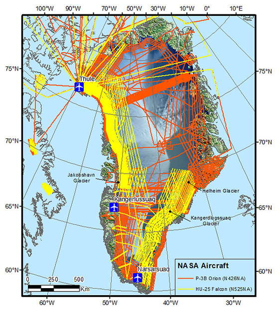 Map of Greenland with flight lines for both aircraft supporting the Arctic 2012 campaign. The planes will be based out of Thule and Kangerlussuaq, Greenland from mid-March through mid-May. On this map, the orange lines represent flights for the P-3B aircraft and yellow lines are the HU-25C. Credit: NASA/Michael Studinger