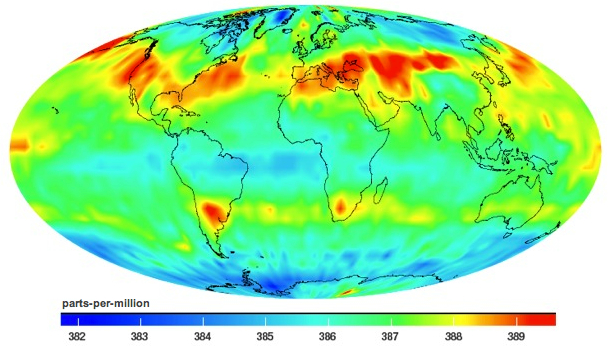 The average amount of carbon dioxide in the mid-troposphere (the lowest part of the atmosphere) during the month of July 2009. Data collected by NASA's Atmopsheric Infrared Sounder (AIRS) instrument in orbit around Earth. Credit: NASA/Jet Propulsion Laboratory.