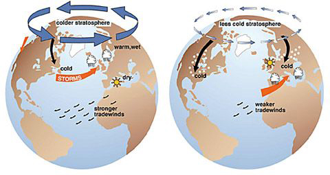 Left: Effects of the positive phase of the arctic oscillation; Right: effects of the negative phase of the arctic oscillation Credit: (Figures courtesy of J. Wallace, University of Washington)