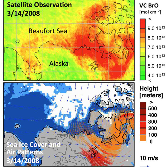 Bromine explosion observed by scientists at the University of Bremen on March 14, 2008 over Alaska and the Beaufort Sea (upper panel), using data from the German Aerospace Center (DLR)-developed Global Ozone Monitoring Experiment-2 (GOME-2) instrument aboard the European Organization for the Exploitation of Meterological Satellites (EUMETSAT) MetOp-A satellite. Credit: NASA-JPL/Caltech/University of Bremen/University of Washington