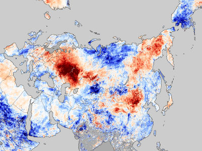 This map shows temperature anomalies from July 20-27, 2010, compared to temperatures for the same dates from 2000 to 2008. The anomalies are based on land surface temperatures observed by the Moderate Resolution Imaging Spectroradiometer (MODIS) on NASA's Terra satellite. Areas with above-average temperatures appear in red and orange, and areas with below-average temperatures appear in shades of blue. Oceans and lakes appear in gray. For more about this image, visit this page. Credit: NASA Earth Observatory