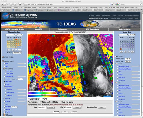 During the GRIP campaign, scientists used the JPL Tropical Cyclone-IDEAS website to see all the data being collected by airborne and satellite instruments and combine it indifferent ways. The window above shows the path of AIRS superimposed on a GOES satellite image hurricane Earl and Fiona on September 2, 2010. The colored dots link to AIRS measurements. The website, http://grip.jpl.nasa.gov/grip/index.jsp,continues to be an important tool for researchers and is also available to the public.