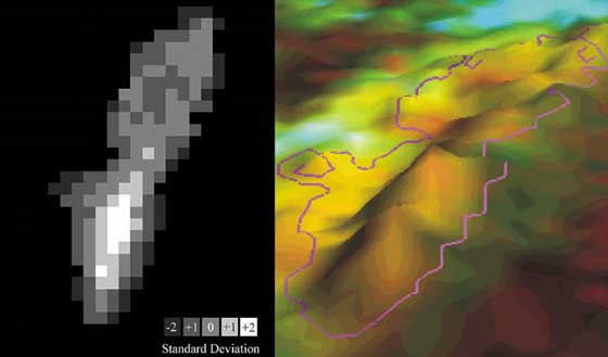 Left: A Landsat pixel-based map showing where the most change has been detected on Caryfort Reef between 1984 and 1996. Right: The spine of elevation shows where the most change has occurred; for Carysfort this change has been correlated with coral decline. Credit: Phil Dustan.