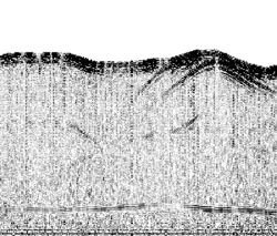 The NASA-led team used the 40-megahertz airborne sounding radar prototype to probe the desert subsurface above the Umm-El-Aish aquifer in northern Kuwait, creating this high-resolution cross section of the aquifer. The radargram shows variations in the depth of the water table from 161 to 171 feet (49 to 52 meters). Image credit: NASA/JPL-Caltech