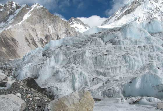 The icefall of Khumbu glacier, in the Nepali Himalayas, was one of Kimberly Casey's fieldwork sites. It is also considered one of the most dangerous spots on the South Col route to Mt. Everest's summit. Credit: NASA/GSFC/Kimberly Casey.