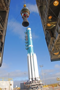 The second stage is being hoisted up onto the United Launch Alliance Delta II rocket that will launch NPP into orbit in October.Credit: NASA/Vandenberg Air Force Base