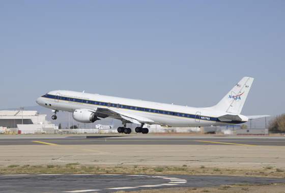 NASA's DC-8 handled the low-attitude missions and carried the bulk of the IceBridge science instruments. Credit: NASA/Tony Landis.