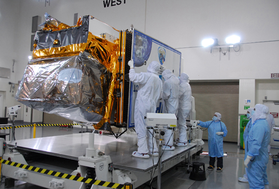 NPP inside a clean room at Vandenberg Air Force Base in California. Credit: NASA/30th Communications Squadron, VAFB