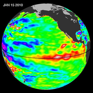 El Niño, a warm-water anomaly that occurs in the Pacific Ocean, is coming back in 2010. This image shows sea-level height data from the NASA/European Ocean Surface Topography Mission/Jason-2 oceanography satellite as of 15 January, 2010. A strong wave of warm water (red areas, where the sea level is higher than normal) can be seen approaching South America. Large El Ninos, such as the largest El Niño of the past century in 1997-98, tend to temporarily force Earth's average temperatures higher for up to a year or more.