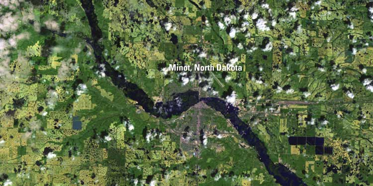 June 25, 2011, after the floods, as seen by Landsat 7. This view shows the extent of the flooding of the Souris River in dark blue. Credit: USGS/NASA.