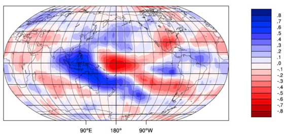Patterns that relate changes in cloud-top height with El Niño/ La Niña indicators. Credit: University of Auckland/NASA JPL-Caltech