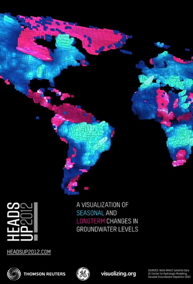 A new visualization of global groundwater depletion created using data from NASA's GRACE mission has premiered on New York's Times Square to mark World Water Day 2012. Credit: NASA/JPL-Caltech/UC Irvine/USGS/Richard Vijgen/Peggy Weil/Heads Up! 2012
