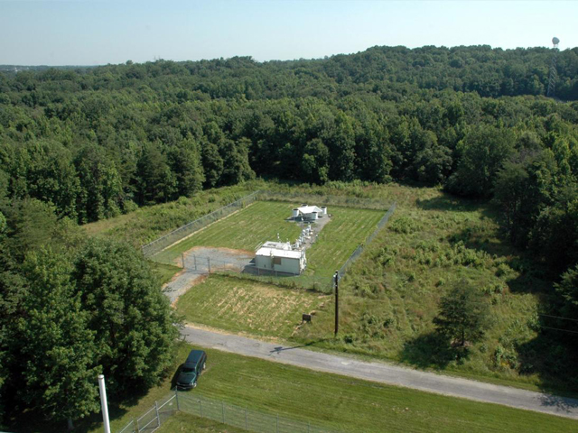 The DISCOVER-AQ aircraft will fly over this ground station in Beltsville and five other locations in Maryland. Credit: Maryland Department of the Environment/Jennifer Hains