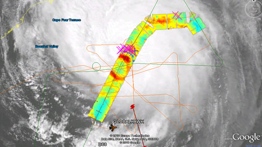 Data collected as the plane flew over Hurricane Earl.