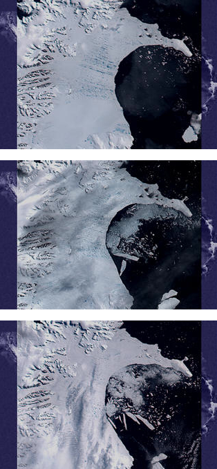 Some of the images taken by NASA's MODIS satellite sensor as the Larsen B ice shelf in Antarctica collapsed in early 2002. Credit: NASA/Goddard Space Flight Center Scientific Visualization Studio.