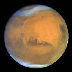 Not enough greenhouse effect: The planet Mars has a very thin atmosphere, nearly all carbon dioxide. Because of the low atmospheric pressure, and with little to no methane or water vapor to reinforce the weak greenhouse effect, Mars has a largely frozen surface that shows no evidence of life.