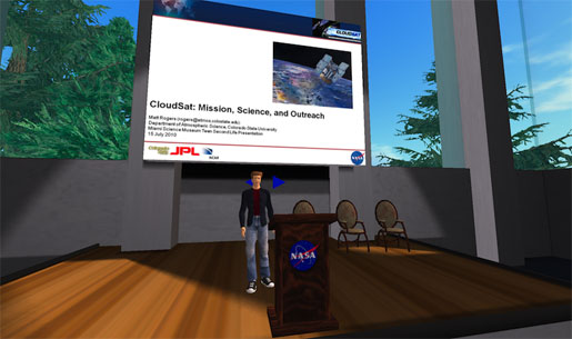 Matt and his second life. He gets ready to give his talk on NASA's CloudSat mission to a group of students.