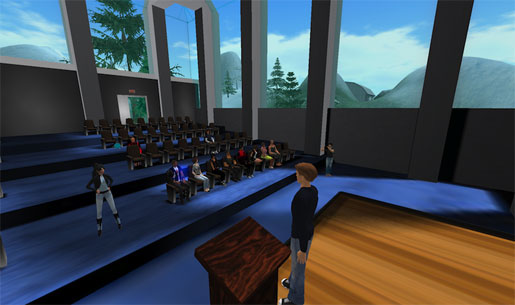 A student asks Matt a question in Second Life.