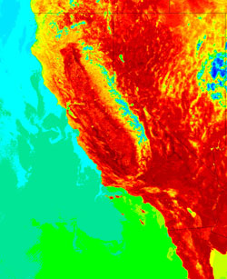 Land surface temperature image of Southern California obtained during a record-breaking spring 2004 heat wave.  In this image, obtained by the Moderate Resolution Imaging Spectroradiometer (MODIS) aboard NASA's Aqua satellite, extreme high surface temperatures nearing 150 degrees F are shown in dark red.