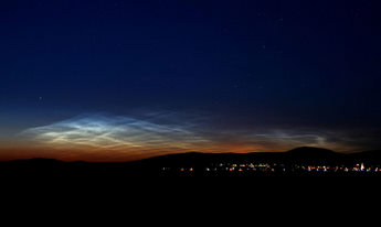 Noctilucent clouds at twilight.