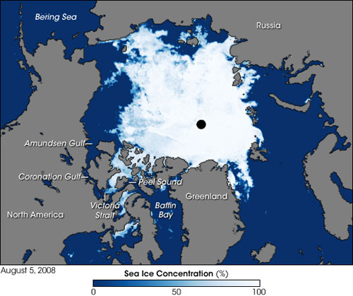 The Arctic as observed on August 5, 2008, by the Advanced Microwave Scanning Radiometer for EOS (AMSR-E) onboard NASA's Aqua satellite. Blue indicates open water, white indicates high sea ice concentration and turquoise represents loosely packed sea ice. The black circle at the North Pole indicates no data as the satellite does not make observations directly over the pole. Image credit: NASA/Jesse Allen, using data obtained courtesy of the National Snow and Ice Data Center (NSIDC). Image from here.