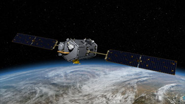 An artist's concept of the Orbiting Carbon Observatory. Credit: NASA/JPL.