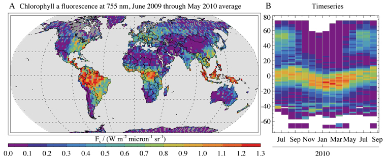 Figure 1. (a) Global map of plant chlorophyll fluorescence as measured by the GOSAT satellite from June 2009 to May 2010. The fluorescence is measured at a spectral wavelength of 757 nanometers and superimposed on a 2°x 2° grid. Areas of higher and lower plant activity can be seen in different parts of the world. (b) Time variations in the fluorescence signal given off by vegetation, from June 2009 to August 2010. A pronounced seasonal variation can be seen that reflects the growing season in the northern hemisphere and seasonal vegetation shifts in the tropics.