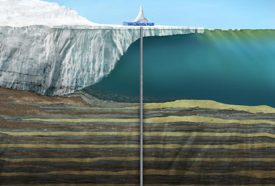 Rendering of drilling operations during the ANDRILL campaign in Southern McMurdo Sound, Antarctica, October - December 2007. Image credit: University of Nebraska-Lincoln