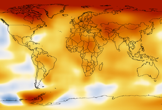 The average global surface temperature of Earth has risen by 0.8 degrees Celsius (1.4 degrees Fahrenheit) since 1880, and is now increasing at a rate of about 0.1 degrees Celsius (0.2 degrees Fahrenheit) per decade. This image shows how 2010 temperatures compare to average temperatures from a baseline period of 1951-1980, as analyzed by scientists at NASA's Goddard Institute for Space Studies. Credit: NASA GISS.