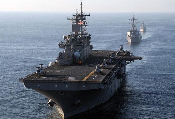 The multi-purpose amphibious assault ship USS Essex leads a formation of U.S. and Indonesian Navy ships. Credit: U.S. Navy photo by Mass Communication Specialist First Class Mark R. Alvarez, courtesy of Wiki Commons.