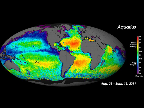 NASA's Aquarius instrument has been orbiting the Earth for a year, measuring changes in salinity, or salt concentration, in the surface of the oceans. The Aquarius team released last September this first global map of ocean saltiness, a composite of the first two and a half weeks of data since the instrument became operational on August 25. Credit: NASA/GSFC/JPL-Caltech.