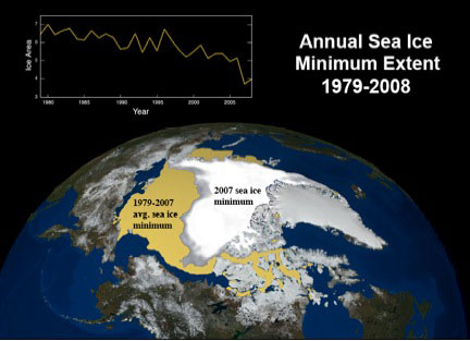 Annual Arctic sea ice minimum extent as seen from space. 'Sea ice minimum extent' refers to the smallest amount of ice coverage in the Arctic, which occurs each year during the Arctic summer when temperatures are highest. Courtesy of Waleed Abdalati, University of Colorado.